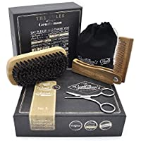 Hair & Beard Comb + Brush + Scissors - SET - for Men, Sandal Wood COMB, 100% Boar Bristle BRUSH, Best for Grooming Facial and Head Hair, use with Balm, Oil and Wax, Packaged in Premium Giftbox