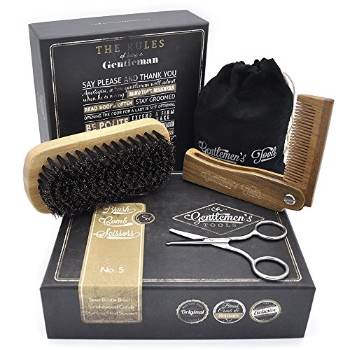 Brush + Scissors - Set - for Men, Sandal Wood Comb, 100% Boar Bristle Brush, Best for Grooming Facial and Head Hair, use with Balm, Oil and Wax, Packaged in Premium Giftbox ()