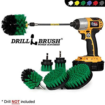 Drillbrush Ultimate Kitchen Cleaning Kit with 7 Inch Extension - Kitchen Cleaning Supplies - Cast Iron Skillet - Drill Brush - Mold Remover - Calcium - Rust - Hard Water - Stove, Burners, Oven Rack: Health & Personal Care