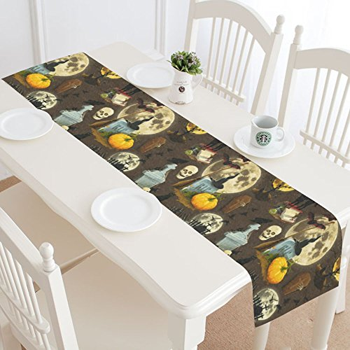 INTERESTPRINT Halloween Pumpkin Skull Table Runner Home Decor