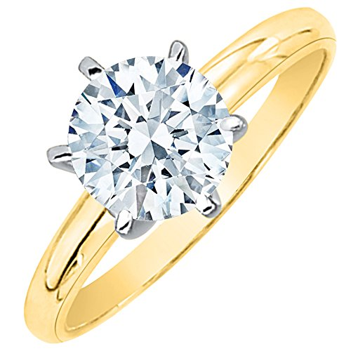 2 ct. L - SI3 Round Brilliant Cut Diamond Solitaire Engagement Ring in 14k Yellow Gold (Size-3) ()