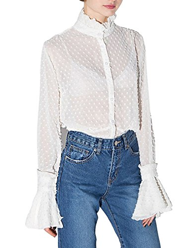 - HAOYIHUI Womens Casual Lace Hollow Out Stand Collar Flare Sleeve Blouse(XL,White)