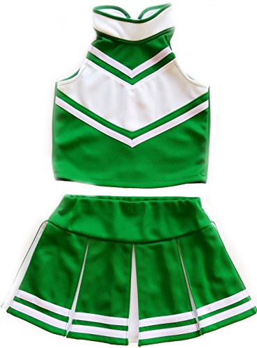 Little Girls' Cheerleader Cheerleading Outfit Uniform Costume Cosplay Green/White (M / 5-8) ()