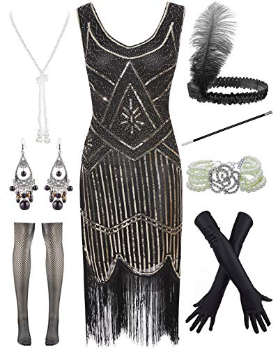 Women Plus Size 1920s Gatsby Sequin Fringed Paisley Flapper Dress with 20s Accessories Set (XL, Black-Gold)