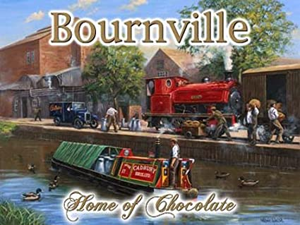 RKO Bournville  Cadbury's Chocolate, steam engine and canal barge/boat  For  home, house, garage, kitchen, shed, pub or man cave  Small Metal/Steel