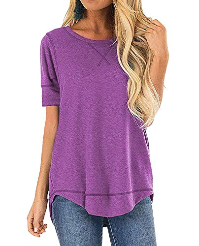 Weilim Women's Casual Blouses T-Shirt Round Neck Short Sleeve Loose Side Split Top Purple S