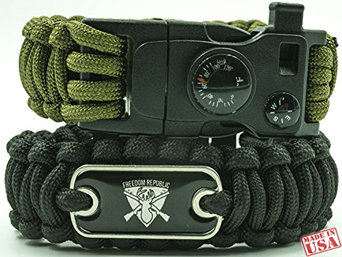 "Price comparison product image Paracord Utility Bracelets Set of 2 (Green & Black) 9"" length. Wearable Survival Kit Multipurpose tool,  Compass,  Whistle,  Firestarter. For camping & hiking emergencies.Thermometer in FAHRENHEIT"
