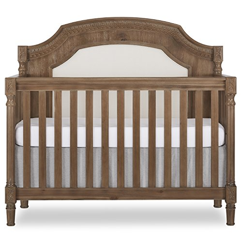 Find Discount Evolur Julienne 5 in 1 Convertible crib, Toffee with Sunbrella Linen Canvas