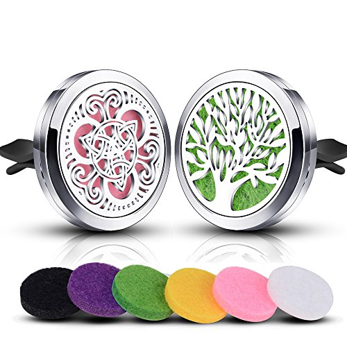 INFUSEU 2 Pack Car Essential Oil Diffuser Vent Clip Air Refresher Freshener Stainless Steel Locket Celtic Knot and Tree of Life Design with 12 Pieces Refill Felt Pads for Aromatherapy Jewelry (Best Oil To Use In Car)