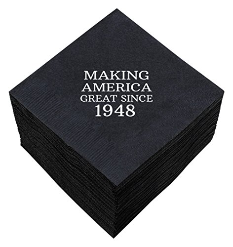 70th Birthday Gifts Making America Great Since 1948 70th Birthday Party Supplies 50 Pack 5x5'' Party Napkins Cocktail Napkins Black by ThisWear (Image #3)