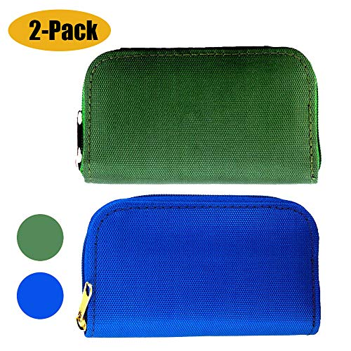 Mixtecc [2-Pack] Memory Card Case - Carrying Case Suitable for SDHC/SD Cards, with 8 Pages and 22 Slots Card Holder Bag Wallet for Media Storage Organization (Blue+Green)