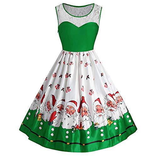 Womens Christmas Vintage Sleeveless Lace Patchwork Dress Lady Santa Claus Printed Retro Dress