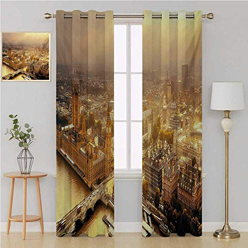 Benmo House Cityscape Gromit Curtains Living, Dining Room, Bedroom Curtains,Westminster Aerial View with Thames River and London Urban Cityscape Panoramic Curtain Holdback 120 by 84 Inch Multicolor