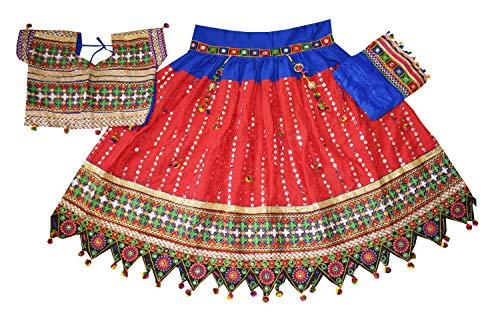 (Nanda Women Cotton Banjara Lehenga Choli-Navratri Sitara Work Chaniya Choli-Ras Garba Special Ghagra Choli Red Free Size)