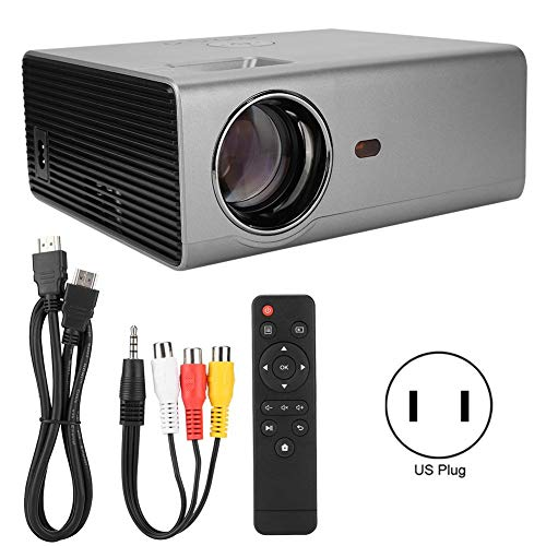 HD Projector, Mini Projector 1080P Full HD LED Screen Projector Portable Multimedia 100-240VCompatible with TV Stick, PS4, HDMI, VGA, TF, AV and USB for Home Theater, Office Presentations(美规) from Hakeeta