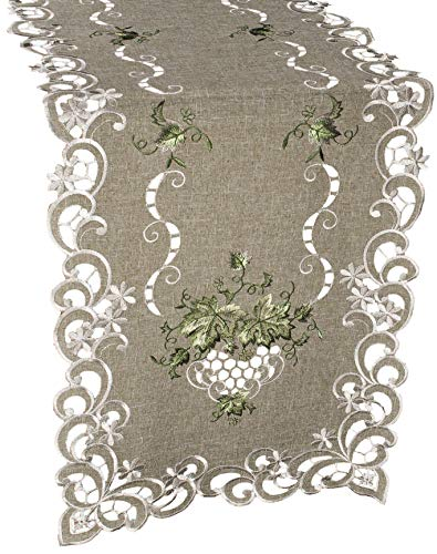 Linens, Art and Things Embroidered Green Leaf on Antique Green Fabric Table Runner Dresser Scarf Coffee Table Doily 16 x 35 Inch