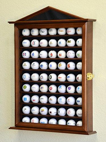 63 Golf Ball Designer Display Case Cabinet Wall Rack Holder w/98% UV Protection Lockable, Walnut