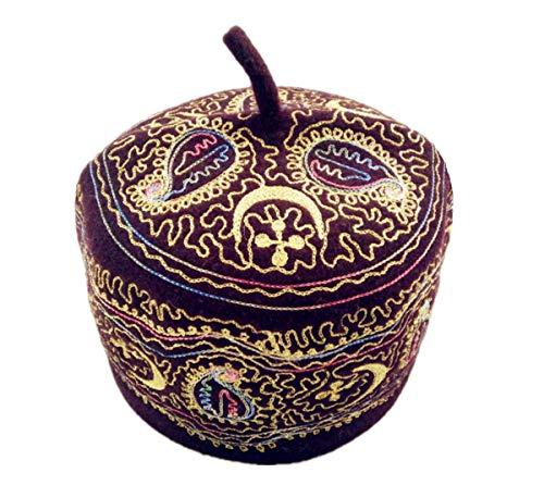 - Inzoey Men's Muslim Embroidered Kufi Wool Prayer Cap Islamic Beanie Turkish Hat Dark Wine l