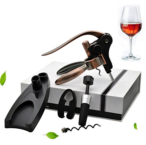 Wine Opener,5 Pieces Multifunctional Wine Accessories Set,Bottle Opener+Foil Cutter+Wine Stopper+Extra Spiral+Stand,Deluxe Corkscrew Tool Kits For Wine Lovers (Deluxe Wine Gift Set)