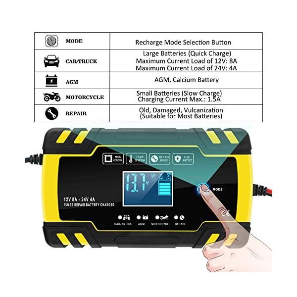 516kmtipaFL Yomao Ladegerät Autobatterie 8A 12V/24V KFZ Batterieladegerät Vollautomatisches Intelligentes Erhaltungsladegerät mit…