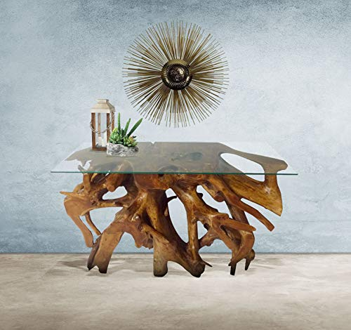 Genuine Teak Wood Root Console Table with Glass Top, 48 inch Made by Chic Teak - Teak Console Table Wood