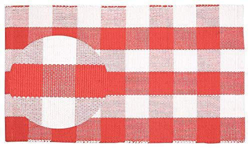 Buffalo Check Cotton Rug 21x34 - Buffalo Checkered Rug 100% Cotton for Kitchen Entryway Living Room - Coral-White
