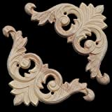8x8cm Unpainted Wood Carved Corner Applique for Furniture Home Decoration