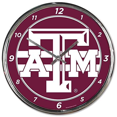 Wincraft Texas A&M Aggies 12 inch Round Wall Clock Chrome Plated
