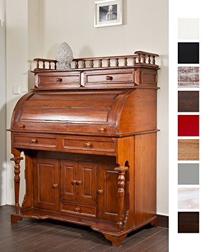 CLP Kolonialstil Holz-Sekretär ROLL TOP, 100 x 55 cm, Mahagoni Holz, bis zu 9 Farben wählbar rustic