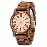 Men's Acacia Wooden Watch, ShiLiTech Universal Wooden Watch, Handmade Vintage Quartz Watches, Natural Wooden Wrist Watch(Acacia Wood)