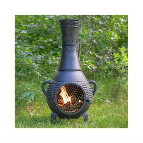 Blue Rooster Pine Style Wood Burning Outdoor Metal Chiminea Fireplace Charcoal Color