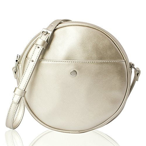Body Cross Stud (The Lovely Tote Co. Women's Round Cross-Body Circle Purse (Gold))