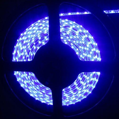 SUPERNIGHT (TM) 5Meters(16.4ft) Side View Blue Flexible Ribbon LED Strip Light,waterproof(IP-65), 335 SMD LED light-emitting Source, 300LEDs 60LEDs/m 12V DC