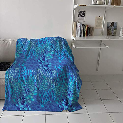 Maisi Warm Microfiber All Season Blanket, Animal Pattern Inspired by Tropical Fish Skin Scales Hand Drawn Style Spotty, Velvet Plush Throw Blanket 60x50 Inch Violet Blue Aqua (Pottery Barn Cat In The Hat Bedding)