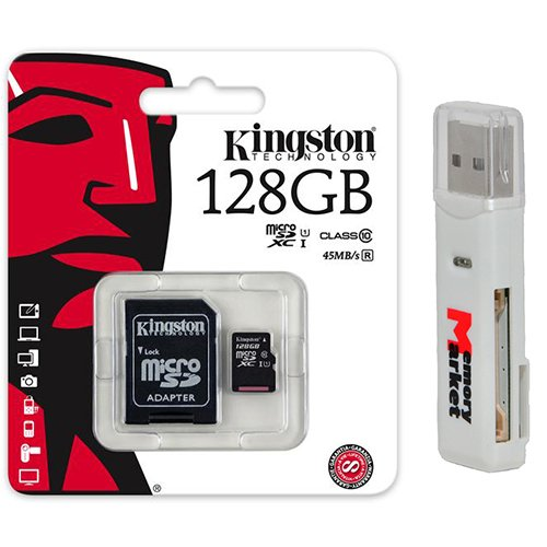 Kingston 128GB MicroSD XC Class 10 UHS-1 TF MicroSDHC TransFlash 45MB/s Read High Speed Memory Card SDC10G2/128GB with SD Adapter and USB 2.0 MemoryMarket Dual Slot MicroSD & SD Memory Card Reader