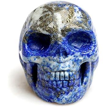 Healing Crystal Stone Human Reiki Skull Figurine Statue Sculptures Mixed Stone(Lapis Lazuli)