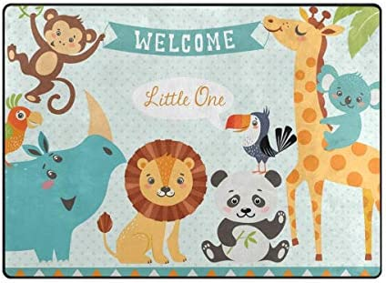 ALAZA Cartoon Pig Piggy Lion Panda Monkey Giraffe Bird Area Rug Rugs
