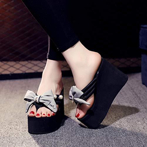 Perlas Zapatos Bowknot Sandalias Playa Cuñas Zapatillas De Chanclas Señoras Chicas Gris Mujeres Bx8E1tp