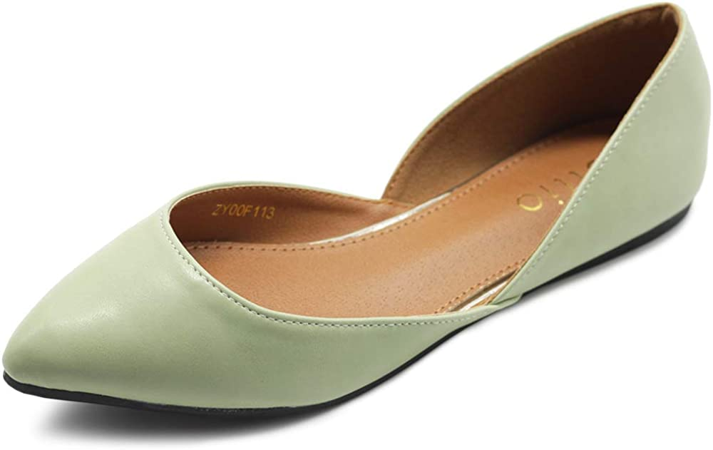Ollio Women's Shoes Faux Leather Slip On Comfort Light Pointed Toe Ballet Flats F113