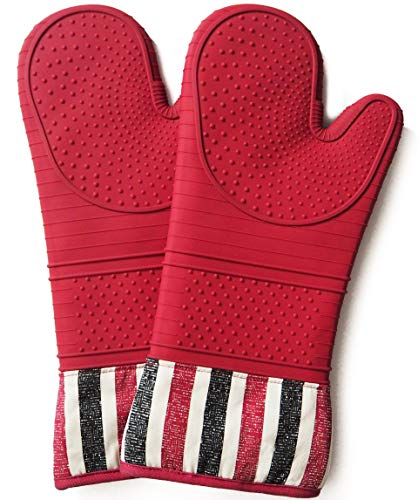Oven Hot Mitt - Heat Resistant 550 Degree,Oven mitt, Silicone Oven Hot Mitts - 1 Pair of Extra Long Professional Baking Gloves - Food Safe,Cooking Mitts, Baking, Grilling,Kitchen (Red)
