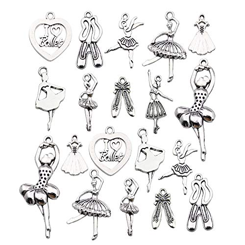 Youdiyla 60 Ballet Charms Collection, Bulk Ballet Dancer Girl Shoe Ballerina Tutu I Love Ballet Charms Metal Pendant Craft Supplies Findings for Necklace and Bracelet Jewelry Making (HM290) (Ballet Shoe Charm)