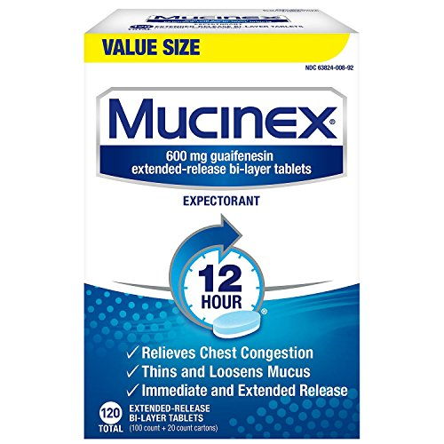 Mucinex 12 Hour Maximum Strength Chest Congestion Expectorant Tablets, 600mg Guaifenesin with Extended Relief, 1 Pack,120 Count