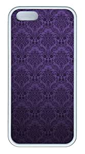 ICORER Best iPhone 5S Case Purple Flower Pattern Case Cover for Apple iPhone 5 5S TPU White