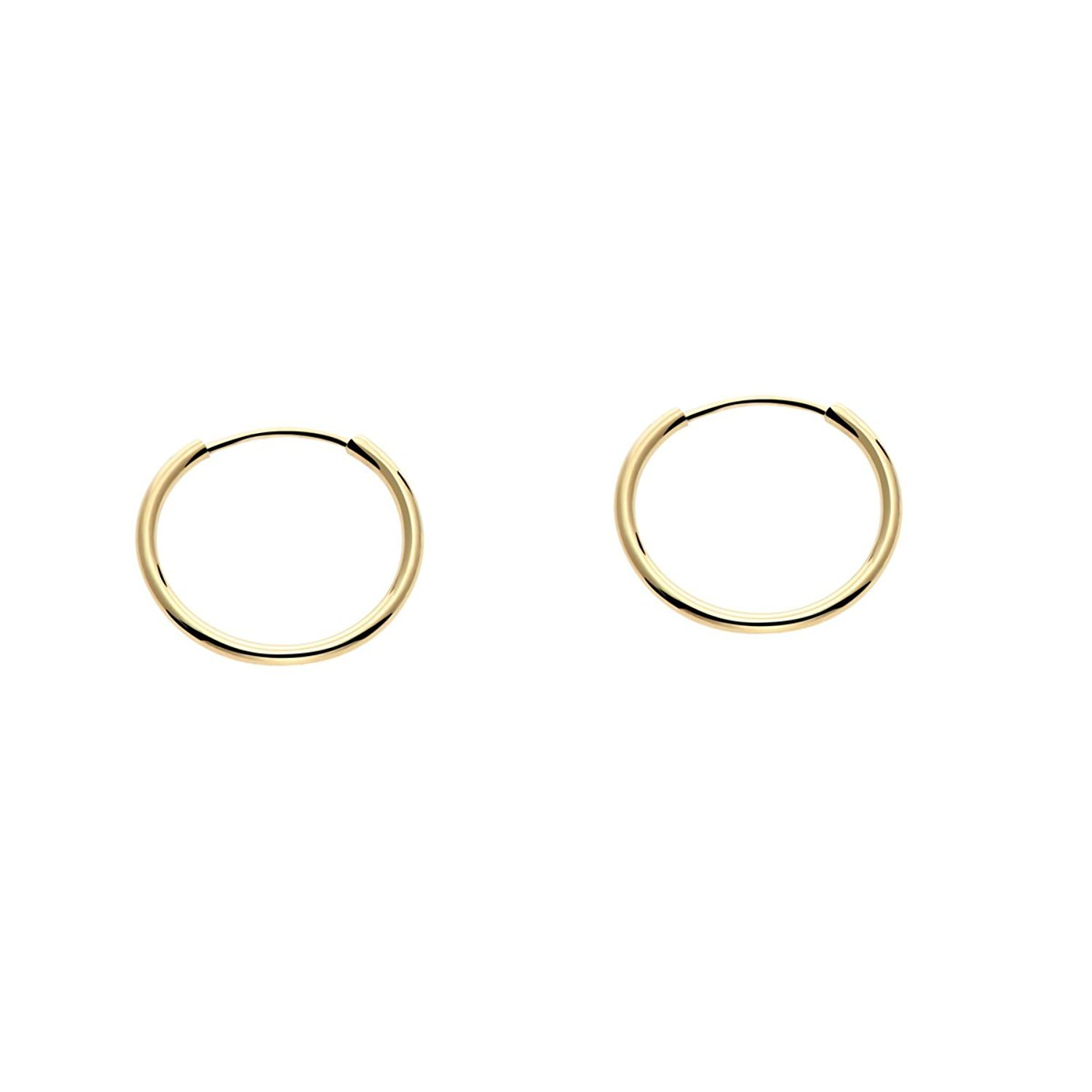 14k Yellow Gold Round Flexible Thin Continuous Endless Hoop Earrings, Unisex (12mm, yellow-gold)