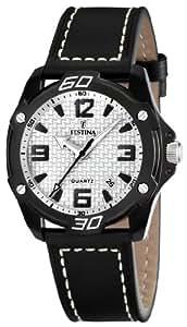 FESTINA F16491/1 - Reloj unisex de cuarzo, correa de piel color negro