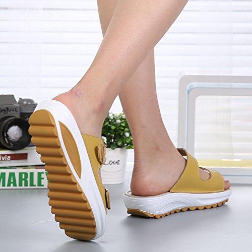 VWU - Sandalias de vestir de Piel para mujer amarillo