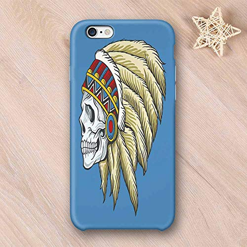 tible with iPhone Case,Native American Dead Skull with Feathers Tattoo Folk Aztec Pattern Decorative Compatible with iPhone 7/8 Plus,iPhone 6/6s ()