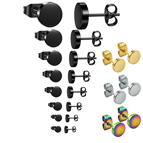 5mm Medium Earrings Hoop (hopewey 11 Pairs 3mm-10 mm Ear Studs Clip On Earrings Hoop Earrings for Women and Men Punk Style Earrings Tunnel Earrings Stainless Steel Hoop Earrings Huggie Piercing Ear Stud Earrings Ear Piercing)