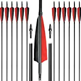 "ARCHERY SHARLY 31"" Carbon Fiber Arrows Hunting Targeting Practice Arrows,5"" Black & Red"