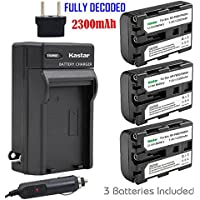 Kastar NPFM50 Battery (3-Pack) + Charger for Sony NP-FM30 NP-FM50 NP-FM51 NP-QM50 NP-QM51 NP-FM55H and CCD-TR DCR-PC DCR-TRV DCR-DVD DSR-PDX GV HVL Series Camcorder (search the model in description)